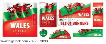 Vector Set Of Banners With The National Flag Of The Wales