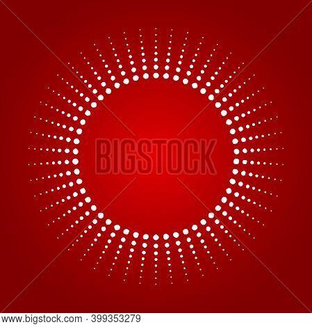 Light Rays Frame With Dots. Red Shine Burst Background. Radiant Spark.