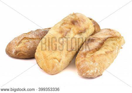 Baguette Cut In Half, Baguette Bread, French Bread, Organic Baguette Francese On White Background
