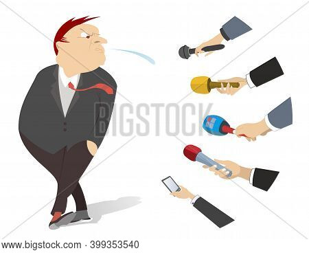 Indignant Man Spitting On To Mass Media Illustration. Angry Man Spits Towards The Hands Of Reporters