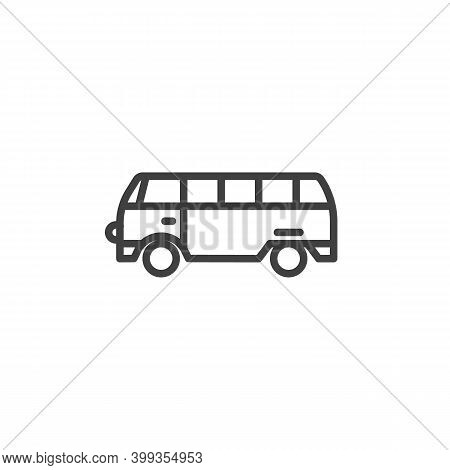 Mini Bus Line Icon. Linear Style Sign For Mobile Concept And Web Design. Mini Van Bus Outline Vector