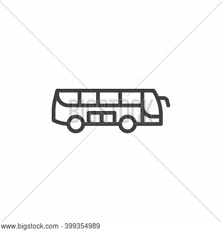 Tour Bus Line Icon. Linear Style Sign For Mobile Concept And Web Design. Bus Side View Outline Vecto