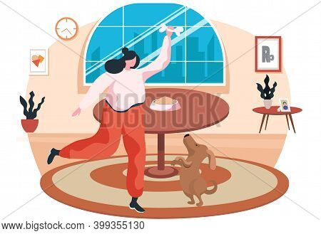 Young Woman Is Training The Animal In Her Apartment. Dog Is Standing On Hind Legs. Trainer Holding B