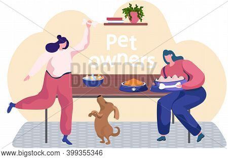 Young Woman Is Training The Animal At Home. The Dog Is Standing On Hind Legs. Trainer Holding Bone I