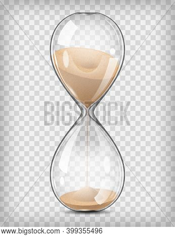 Realistic Detailed 3d Hourglass With Sand On A Transparent Background Symbol Of Countdown. Vector Il