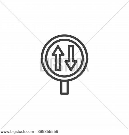 Two Way Traffic Sign Line Icon. Linear Style Sign For Mobile Concept And Web Design. Two Way Road Ou