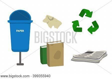 Waste Sorting Set Vector Illustration. Blue Dumpster Bin For Paper. Newspaper, Book, Leaflet, Cellul