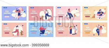 Pet Owners Landing Page Template. People Playing With Their Domestic Animals Set Of Eight Scenes, Tr