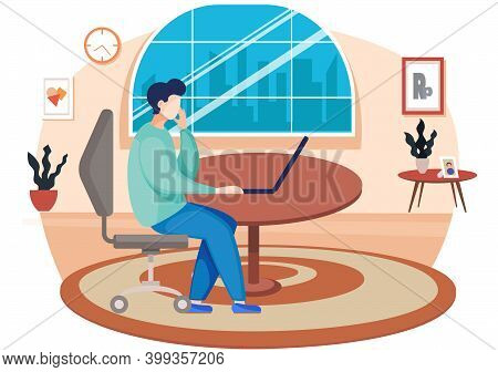 A Man Freelancer Is Working On The Computer At Home. Businessman Is Sitting On The Chair With Open L
