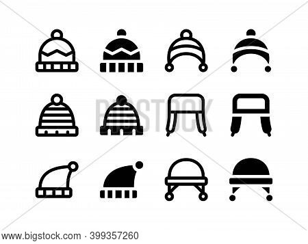 Simple Set Of Vector Line And Glyph Icons Beanie