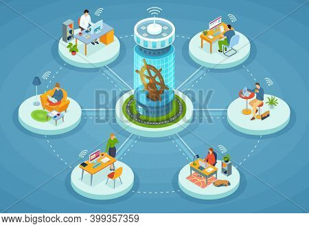 Remote Working And Networks. Professional Business Teleworkers Connecting Online And Working From Ho
