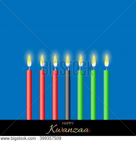 Vector Illustration For Kwanzaa. Template With Seven Realistic Candles. Traditional African American