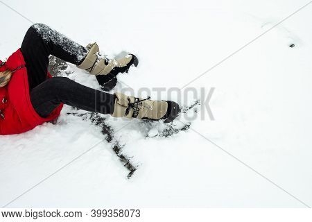 The Girl Fell Slipping In The Snow.