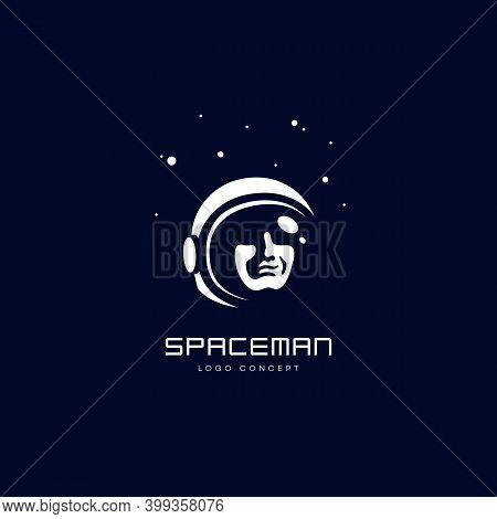 Spaceman Logo Design Template For A Dark Background. Vector Illustration.