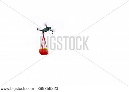 Gift Delivery By Drone On A White Background.