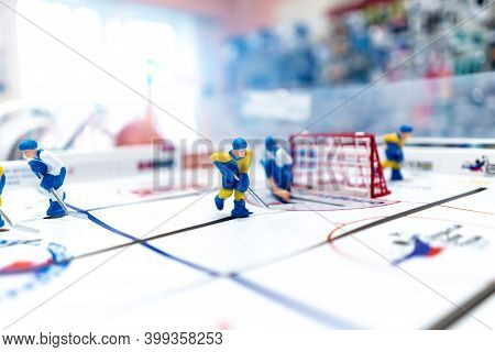 Figure Of A Hockey Player On A Table Hockey Close-up.