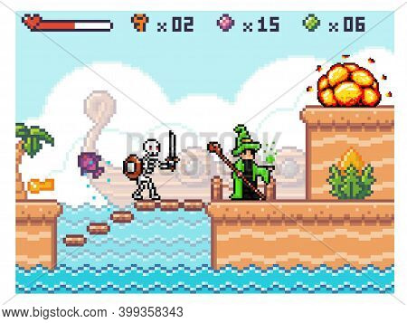 Skeleton With A Sword Attacks The Wizard. Angry Character Fighting Hero. Man In Costume Works With M