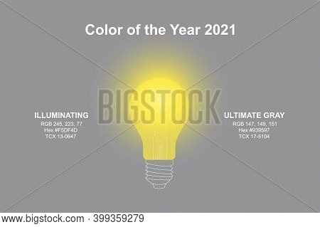 Light Lamp In Modern Trendy Illuminating Yellow And Ultimate Gray Colors Of Pantone Color Of The Yea