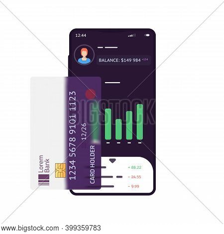 Phone With Finance App With Chart And Banking Transaction Ui. Transparent Credit Card On Phone. Bala
