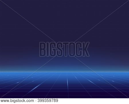 Retro Style Grid Background Eighties Banner. Blue Grid Plane With Glowing Horizon. Blue And Light Bl