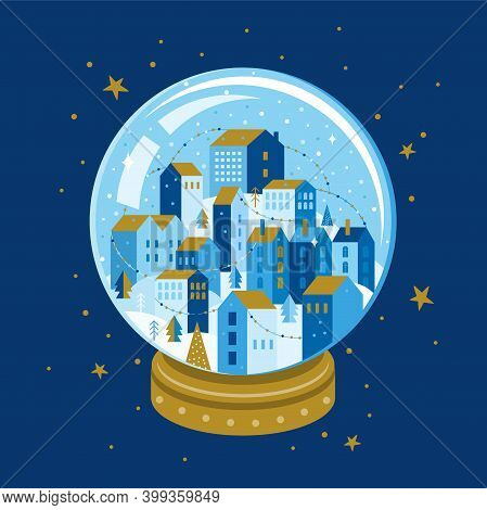 Night Winter City Landscape Inside A Christmas Glass Ball With A Gold Base. Xmas Snowball With Trees