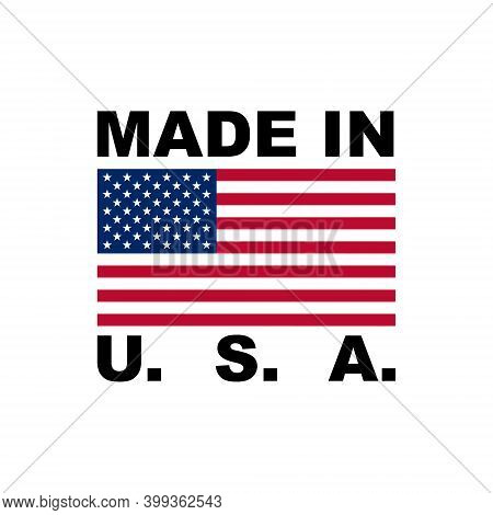 Made In Usa Tag Label With American Flag, Vector Illustration