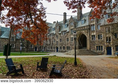 Princeton, Nj Usa - Novenber 12, 2019: Ivy League College Building, Princeton University, Nj Usa