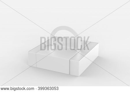 Gift Packaging Box With Handle Mock Up For Cake Paperboard Packaging Container Template For Muck Up.