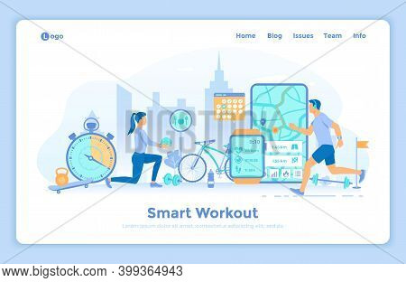 Smart Workout, Training, Fitness, Running. Fitness Tracker App Graphic User Interface For Smart Watc