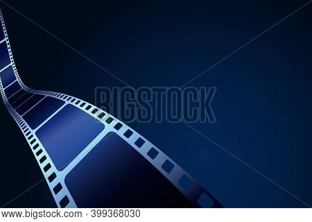 Isometeric Film Strip Isolated On Blue Background. 3d Film Strip In Perspective. Vector Template Cin
