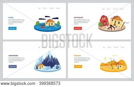 Natural Disaster Set - Flood, Earthquake, Snowstorm And Drought.