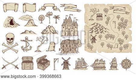 Pirates Island Treasure Map Set In Engraved Style Vector Illustration Isolated.