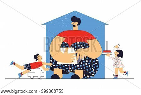 Frustrated Parent Work From Home Difficult Parenting Flat Vector Cartoon Illustration Isolated On Wh