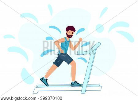 An Adult Male Runs On A Treadmill And Sweats. Man Is Jogging On A White Background.