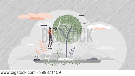Tree Pruning And Gardening As Tree Trimming Or Shaping Tiny Person Concept