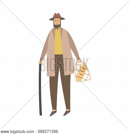 Poor Homeless Sad Man In Old Clothes A Vector Isolated Illustration