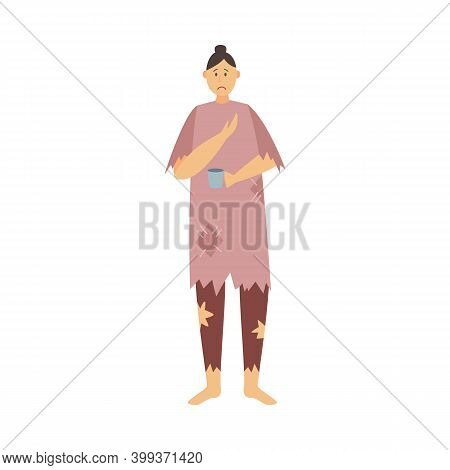 Homeless Poor Hungry Woman In Ragged Clothes Beg Money A Vector Illustration