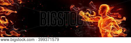 Muay thai boxer punching. Burning background with copy space, fire, smoke and sparks. 3d illustration.