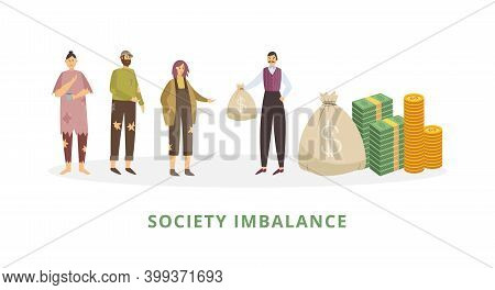 Rich Man Having A Lot Of Money Helps Homeless Poor People A Vector Illustration.