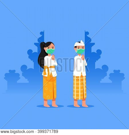 Balinese Girl And Boy Give Welcome Greeting. Suitable For Hinduism Theme.