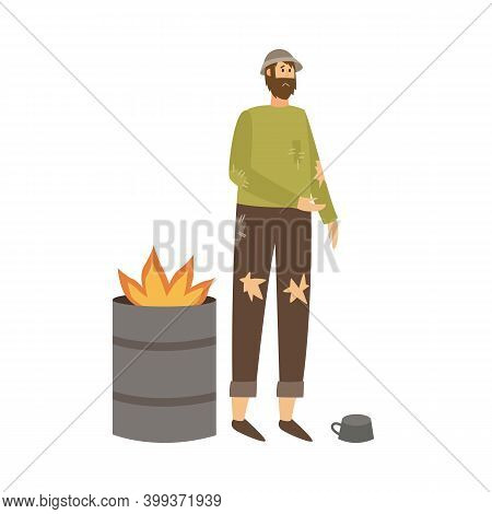 Poor Homeless Man In Torn Clothes Begging Money A Vector Illustration.