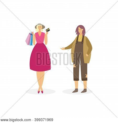 Cartoon Characters Of Sad Poor And Happy Rich Young Women A Vector Illustration.
