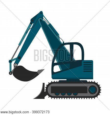 Excavator Or Bulldozer Machine With Backhoe, Flat Vector Illustration Isolated.