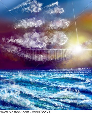 Digital Illustration Of A Sea, Storm At The Background And Some Waves In The Deep Blue Sea, The Sun