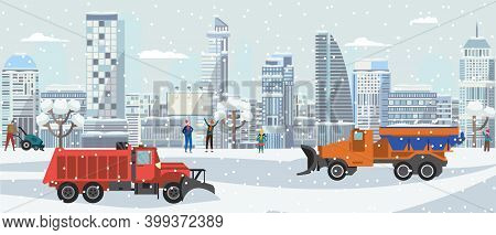 Winter City Landscape With Snow Plow Trucks Cleaning Streets In Snowfall