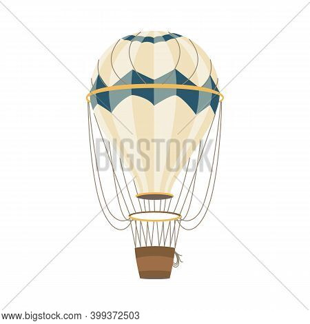 Air Balloon With Striped Aerostat And Basket Flat Vector Illustration Isolated.