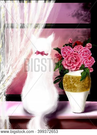 Digital Illustration Of A White Cat Sitting On The Windowsill, A Beautiful Vase With Roses, White Cu