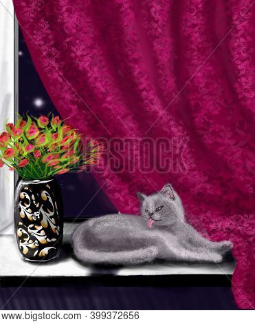 Digital Illustration Of A Cat Lying On The Windowsill, A Beautiful Vase And Red Curtains Beautifing