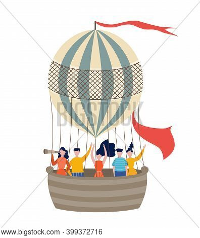 People Traveling By Hot Air Balloon Flat Vector Illustration Isolated.