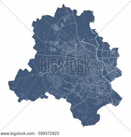 Delhi Map. Detailed Vector Map Of Delhi City Administrative Area. Cityscape Poster Metropolitan Aria